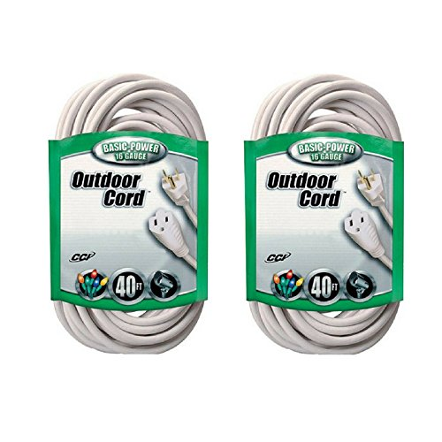 Coleman Cable 16/3 SJTW Outdoor 40' Vinyl Extension Cord, White - 2 Pack