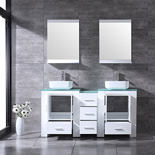"BATHJOY Luxury 60"" White Bathroom Double Wood Vanity Cabinet with Square Ceramic Vessel Sink and Mirrors Faucet Drain Combo by BATHJOY (Image #3)"