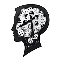 WonderZoo Smart Brain 3D Gear Clock, Quiet, Silent, Noiseless, Decorative with Premium Plastic Moving Clock for Office, Home, Kitchen, Bar, Moden Living Room Decor, 12.2 x 8.7, Black (Smart Brain)