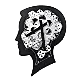 WonderZoo Smart Brain 3D Gear Clock, Quiet, Silent, Noiseless, Decorative with Premium Plastic Moving Clock for Office, Home, Kitchen, Bar, Moden Living Room Decor, 12.2'' x 8.7'', Black (Smart Brain)