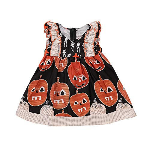 (Kids Toddler Newborn Baby Girl Halloween Costume Cute Pumpkin Printed Tutu Dress Halloween Night Party Dresses)