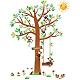 Decowall DM-1401 5 Little Monkeys Tree Kids Wall Decals Wall Stickers Peel and Stick Removable Wall Stickers for Kids Nursery Bedroom Living Room/