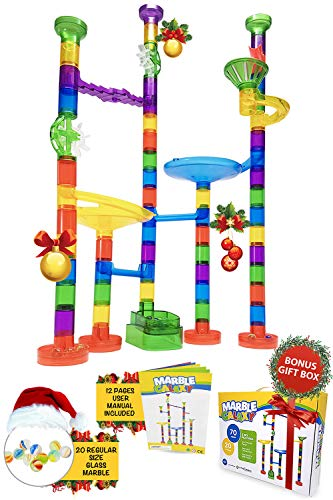 - Marble Run Track Toy Set – Translucent Marble Maze Race Game Set By Marble Galaxy – Fun Educational STEM Building Construction Toys For Kids - 90 Sturdy Colorful Marbulous Pcs & Glass Marbles