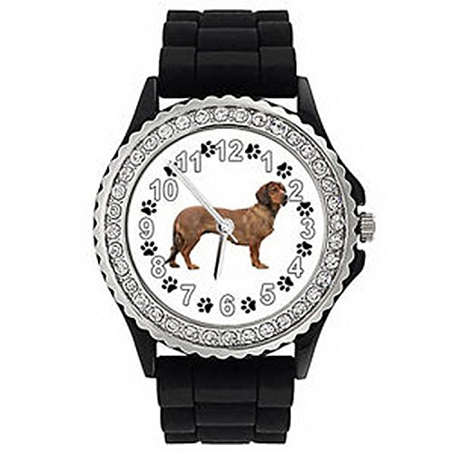 JWS1158 Alpine Dachsbracke Dog Crystal Rhinestone Mens Ladies Silicone Wrist Watch