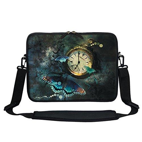 Meffort Inc 11.6 Inch Neoprene Laptop/Ultrabook/Chromebook Bag Carrying Sleeve with Hidden Handle and Adjustable Shoulder Strap (Butterfly Clock)