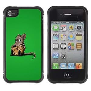 Suave TPU GEL Carcasa Funda Silicona Blando Estuche Caso de protección (para) Apple Iphone 4 / 4S / CECELL Phone case / / Cute Rat & Cookie /