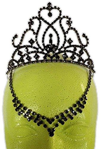 Black Rhinestone Evil Queen Fairy Costume Tiara V Drop Medieval Halloween Gothic]()