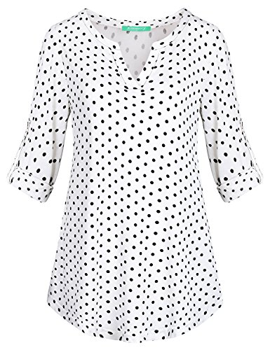 Kimmery Polka Dots Tops for Women, Office Outfits for Ladies Cuffed Sleeve Stand Collar V Neck Tunic Blouse Polka Dot Shirts Loose Fitting Elegant Maternity Clothes to Hide Tummy White XX Larg