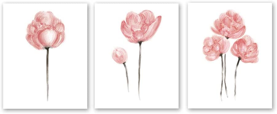 "3 Set- Watercolor Pink Flower Art Print,Blossom Floral Canvas Wall Art Printing for Girls Bedroom Decoration (Unframed,8""X10"")"