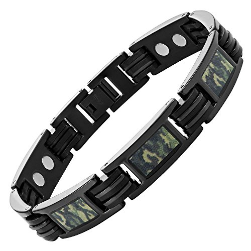 Green Camouflage Titanium Magnetic Bracelet Size Adjusting Tool and Gift Box Included By Willis Judd