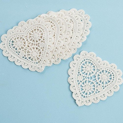 """Factory Direct Craft 3"""" Ivory Heart Cotton Hand Crafted Lace Doily Appliques, Set of 24"""