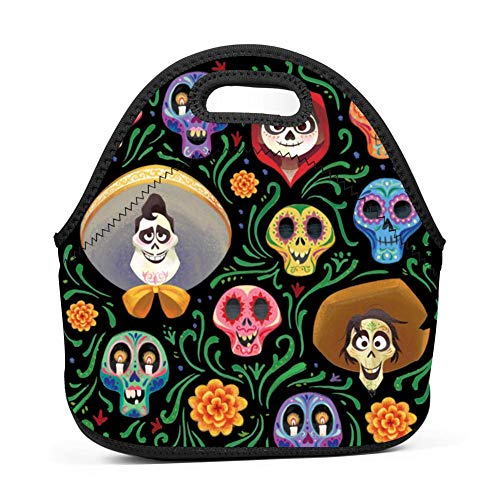 Neoprene Lunch Bag - Removable Shoulder Strap-Large Size Reusable Lunch Handbag, Coco Guitar Pattern Halloween Costumes Tote Waterproof Outdoor Case Lunchbox with Zipper for Womens Mens Boys Girls ()