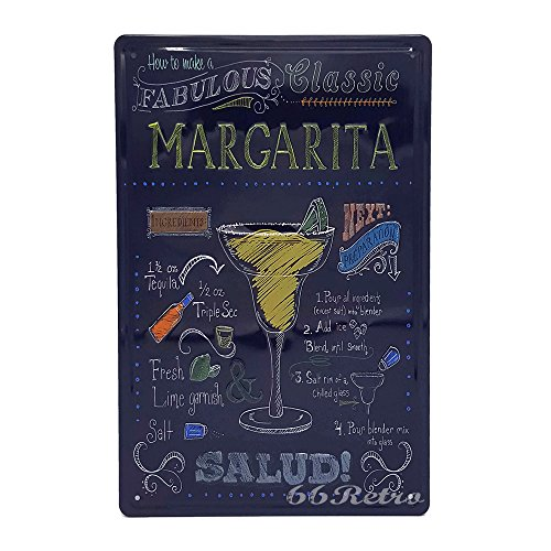 How To Make A Fabulous Classic Margarita, Retro Embossed Metal Tin Sign, Wall Decorative (Margarita Neon Sign)