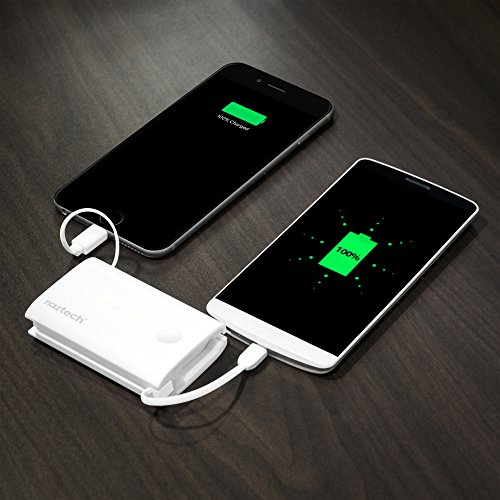 Naztech PB5000i Pocket Power Bank 5000mAh Capacity Portable Charger, 2 Built-in Cables: Apple MFi Lightning AND Micro USB, Universal Compatibility, Compact Battery, Simultaneously Charge 2 Devices by Naztech (Image #4)'