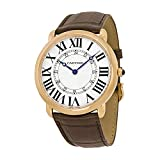 Cartier Ronde Louis Silver Dial 18k Rose Gold Brown Leather Automatic Mens Watch W6801004