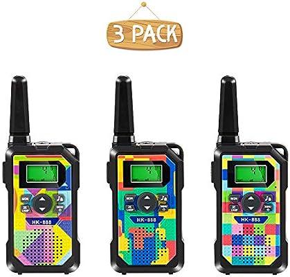 Amazon.es: Walkie Talkie para Niños, 3 Pack, 8 Canales, Radios de 2 Vías, 3km de Largo Alcance Walkie Talkie Toys con Linterna y Pantalla LCD Retroiluminada para Niños y Niñas Actividad al