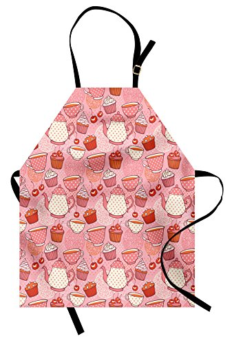 (Ambesonne Cartoon Apron, Teapots Cups with Polka Dots Patterns Cherries Cakes Tea Coffee Pattern, Unisex Kitchen Bib Apron with Adjustable Neck for Cooking Baking Gardening, Orange Pink)