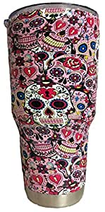 30 oz Sugar Skulls Stainless Steel Tumbler with 100% Splash Proof Lid - Double-Wall Insulated Tumbler Warehouse Travel Coffee Mug for Hot & Cold Drinks - Sweat-Free Tumbler