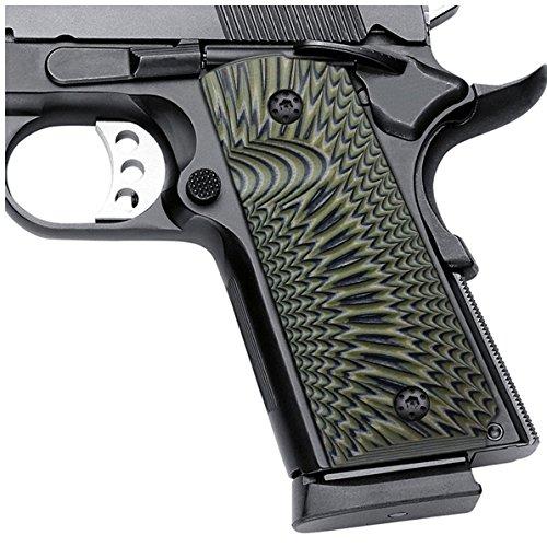 Cool Hand 1911 G10 Grips, Compact/Officer, Sunburst Texture, Brand, OD Green/Black, H2-J6-21
