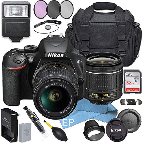Nikon D3500 W/AF-P DX NIKKOR 18-55mm f/3.5-5.6G VR + Accessory Bundle (19pc Bundle)