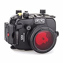 EACHSHOT 40m/130ft Underwater Diving Camera Housing for Canon G5X + 67mm Red Filter