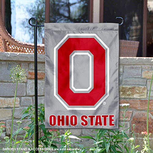 - College Flags and Banners Co. Ohio State Buckeyes Grey Block O Garden Flag