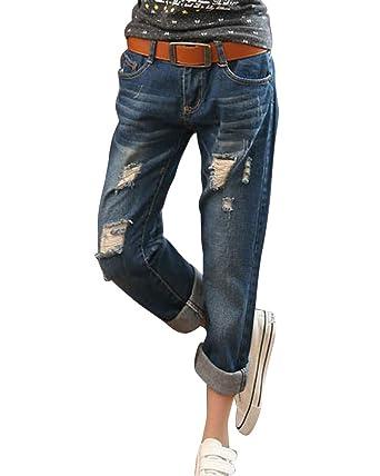 Damen Cropped Loose Fit Boyfriend Jeans Hose Jeanshosen Destroy Hosen  Dunkelblau 26