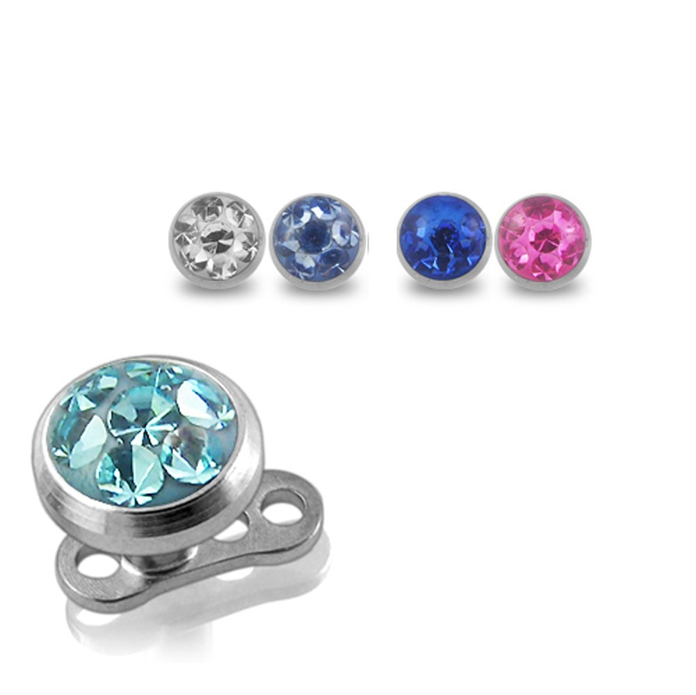 Buy 1 Get 5 !!! G23 Grade Titanium Base with 5 Pieces Changeable 316L Surgical Steel Top Dermal 5MM Micro Multi Crystal Stone All Color As Shown. by Dermal Anchors