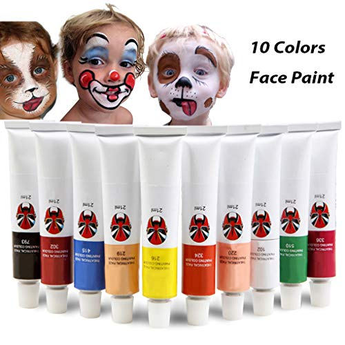 iMustech 10 Colors Professional Face Paint Kit, Non Toxic Oil-Based Halloween Face and Body Paint with Brush -
