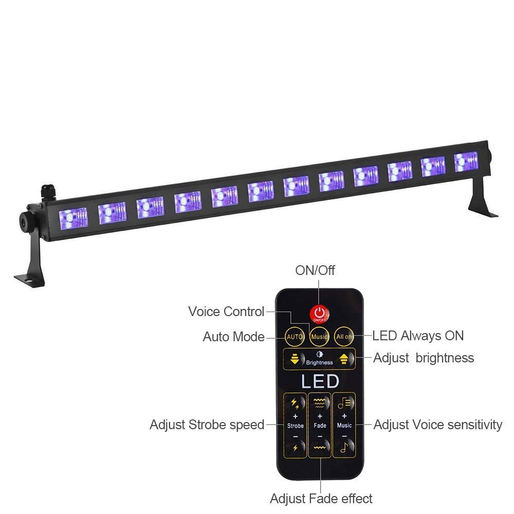 HIOTECH UV LED Bar Black Light with 3Wx9 LEDs Blacklight Effect Supplies and Remote Control for Parties Birthday Wedding DJ Stage Lighting in Dark (12 LEDs)