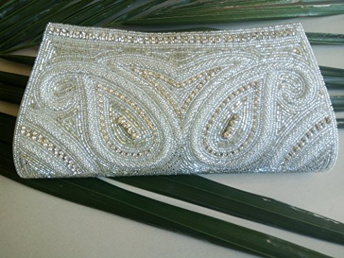 Vintage Womens Seed Beaded Clutch Purse Bag with Satin Lining