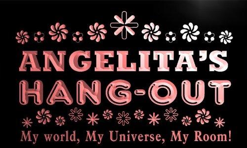 pq920-r Angelita's Hang Out Girl Kid's Room Light Neon Sign