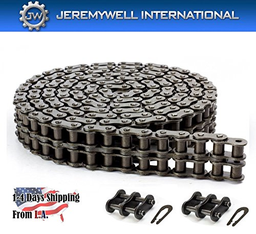 50-2 Double Strand Duplex Roller Chain 10 Feet with 1 Connecting Link ()