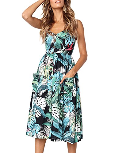 GRACIN Women's Summer Floral Sundress Spaghetti Strap A-Line Swing Midi Dress with Pockets (Size L, Tropical (Tropical Floral Dress)