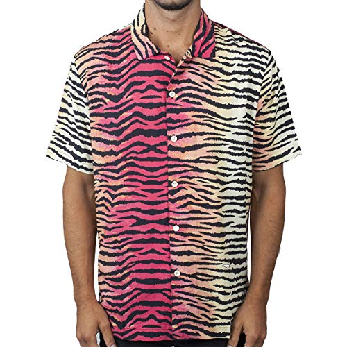 NEFF Men's Daily Button Up Hawaiian Style Patterned Pool Side Shirt, Tiger Stripe, Medium ()