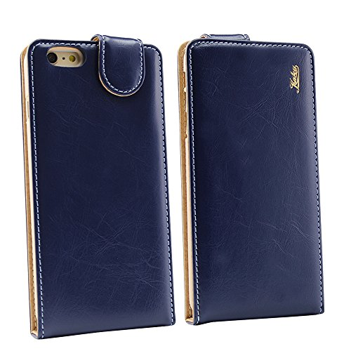 Iphone 6/6s Ultra-Soft Second Layer PU Mix Navy Blue Leather Flip Case Cover with Two Card Slot for Apple Iphone 6/6s by G4GADGET®