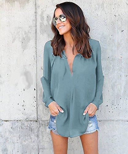 ... Manches Pour V B clair Office Chemisier Chemise Mode Lady Vert Tunique Col  Mousseline Longues Blouse Femme ... 09b4d8f84463