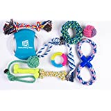 Everything Pets Dog toys - Set of 10 - Rope Toys for Medium, Large and X-large Dog, Includes Dog Frisbee - Ball - Bones -Tug of War - Chew Toys - For Aggressive Chewers