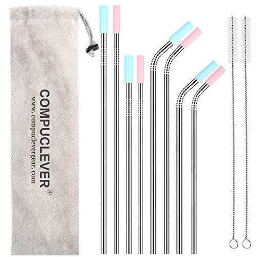 ws Set of 8 BPA Free Reusable Drinking Straws for 30oz 20oz Tumbler 10.5'' 8.5'' Diameter 0.24'' 0.31'' with 8 Silicone Tips 2 Cleaning Brushes and Pouch(4 bent 4 straight) ()