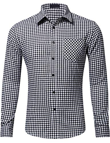 DOKKIA Men's Dress Buffalo Plaid Checkered Fitted Long Sleeve Flannel Shirts (Black White Check, X-Large)