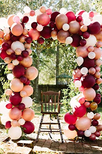 100Pcs Wedding Balloon Garland & Arch Kit-100pcs Rose Gold Pink Burgundy Balloons, 16 Feets Arch Balloon Strip Tape, Glue Dots, Tying Tool for Bridal Shower Bacholerette Party Baby Shower Birthday
