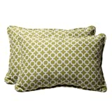 Pillow Perfect Decorative Green/White Geometric Rectangle Toss Pillow, 2-Pack