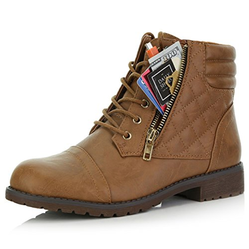 DailyShoes Women's Military Lace Up Buckle Combat Boots Ankle High Exclusive Credit Card Pocket, Tan Pu, 8.5