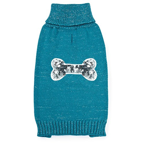 Zack & Zoey Elements Sequin Bone Sweater for Dogs, Blue, Small