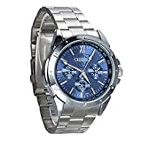 Avaner Mens Luxury Elegant Stainless Steel Band Blue Round Dial Analog Diaplay Quartz Wrist Dress Watch