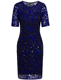 Vintage 1920s Gatsby Sequin Beaded Lace Cocktail Party Flapper Dress With Sleeves