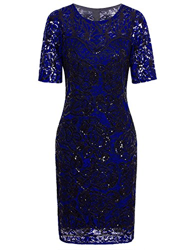 Vijiv Women Vintage Style Lace Beaded Cocktail Dress Sequin Great Gatsby Flapper Dress Party,Blue,X-Large