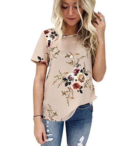 ISSHE T Shirt Rundhals Damen Druck Blumen T Shirts Frauen Oversize Sommer  Longshirt Bluse Kurzarm Lässige 8550692155