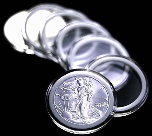Wholesale 10 Airtite Coin Capsule Holders w WHITE Rings for American Silver Eagle Dollar by Pinnacle for cheap