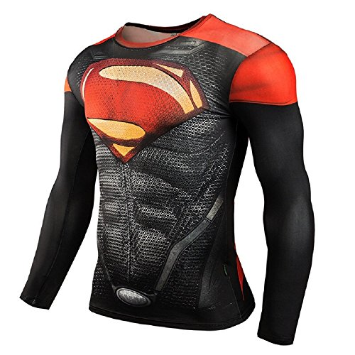 Super-Hero Series Compression Sports Shirt Runing Fitness Gym Men's Base Layer -